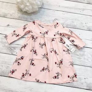 Baby Girl Pink Floral Long Sleeve Dress - Size 3-6